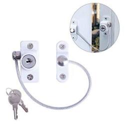 Fönsterlås - Skydda ditt hem mot inbrottstjuvar - med nyckel vit 20 cm