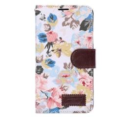 iPhone 6/6S Blommig läderfodral l VIT l Kreditkort l Flera Fack vit