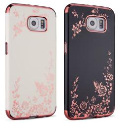 Galaxy S6 - Skal Black Svart skal med rosédetaljer