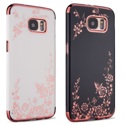 Galaxy S7 Edge - Skal Vitt skal med rosédetaljer