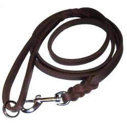 K9-Sport Läderkoppel 10 mm x 200 cm, mörkbrunt med kromhake