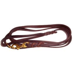 K9-Sport Läderkoppel 16 mm x 250 cm, brun med mässinghake Brun