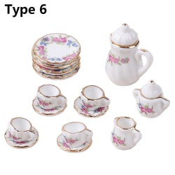 15PCS Miniature Tea Set Porcelain Tableware Cup Figurine TYPE 6