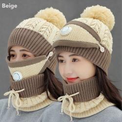 3 Pieces Set Hat Scarf  Set Snow Ski Cap Beanies Hats BEIGE beige