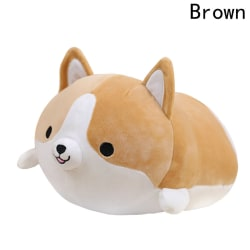 "35cm/14"" Corgi Dog Doll Plush Toy Soft Pillow BROWN"