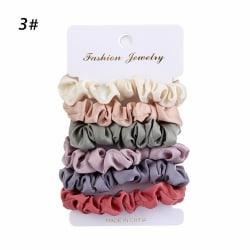 4/6 st / uppsättning Vintage Scrunchies elastiska hårband hårrep 3