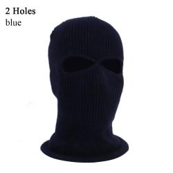 Army Tactical Hat Winter Knit Cap Balaclava Hood BLUE 2 HOLES blue