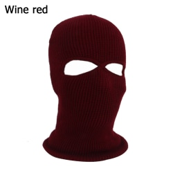 Army Tactical Hat Winter Knit Cap Balaclava Hood WINE RED wine red