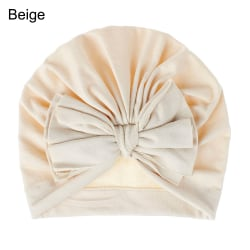 Baby Turban Hat Infant Beanies Knot Headband BEIGE