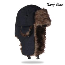Bomberhattar Ryska Ushanka Winter Cap NAVY BLUE