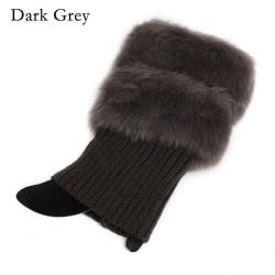 Boot Socks Leg Warmer Fur  Crochet Knit DARK GREY
