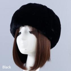 Faux Fur Headband Russian Cap Empty Top BLACK Black