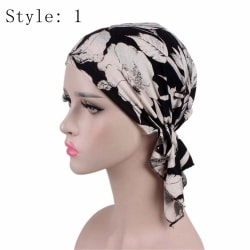 Floral Chemo Cap Cancer Hat Head Scarf STYLE 1 Style 1