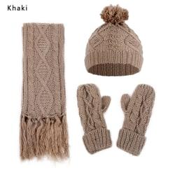 Hat Scarf Gloves Set Winter Thick Warm Beanie Cap KHAKI khaki