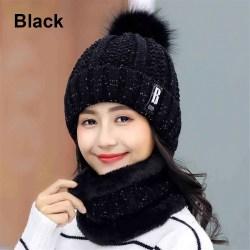 Hat Scarf  Set Snow Ski Cap Beanies Hats BLACK black