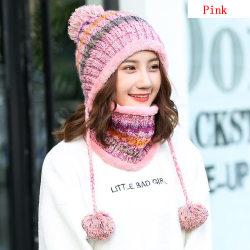 Hat Scarf Set Snow Ski Cap Winter Warm PINK pink