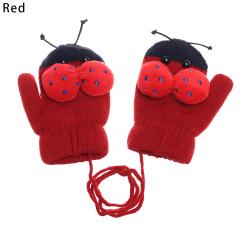 Kids Gloves Full Finger Mittens Knitted Gloves RED red
