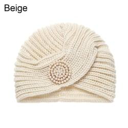 Knitted Winter Hat Crochet Turban Headdress BEIGE beige