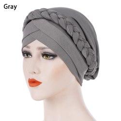 Ladies Braid Turban Women Muslim Caps Cancer Chemo Hat GRAY gray