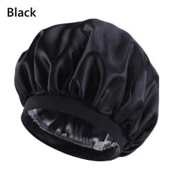 Large Satin Bonnet Satin Sleeping Cap BLACK
