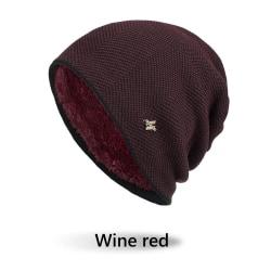 Men's Knitted Beanie Winter Warm Hat Thick Fleece Hat WINE RED Wine red
