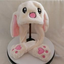 Move Rabbit Ear Hat Pinching Airbag Cap Plush Toy Bunny Hat