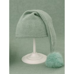 Newborn Photography Hat Baby Beanies Knit Fur Ball Hat LIGHT Light green