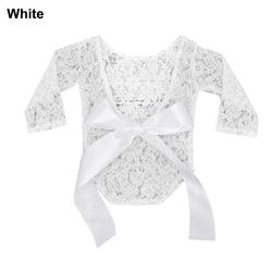 Newborn Photography Props Lace Romper Bodysuit WHITE