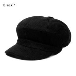 Octagonal Cap Hats Painter Newsboy Caps Women Beret BLACK 1 black 1