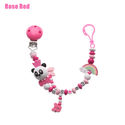 Pacifier Clip Pacifiers Chain Teething Soother ROSE RED