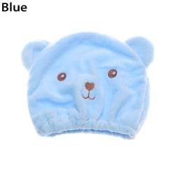 Quickly Dry Hair Hat Wrapped Towel Cap Hair Towel BLUE blue