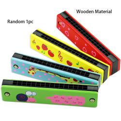 Random Color Musical Instrument 16 Holes Harmonica Wooden/Metal