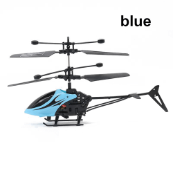 RC Helicopter Micro Sensor Drone Flying Aircraft BLUE blue