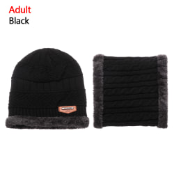 Scarf Hats Set Knitted Cap Beanie Hat BLACK ADULT Black Adult