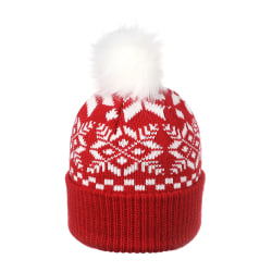 Snowflake Hats Christmas Beanie Knitting Thick RED SNOWFLAKE