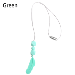 Teething Necklace Silicone Bite Beads Feather Pendant GREEN