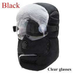 Thick Warm Cap Winter Hats Balaclava BLACK CLEAR GLASSES black