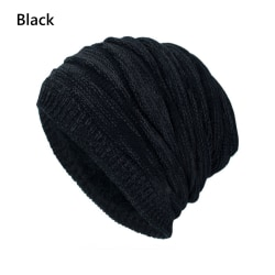 Winter Knit Hat Baggy Beanies Ski Caps BLACK black