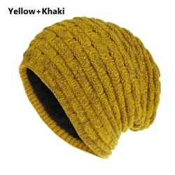 Winter Knit Hat Baggy Beanies Ski Caps YELLOW & KHAKI Yellow & Khaki