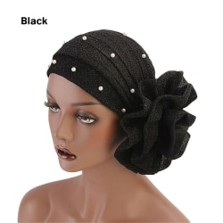 Women Cancer Chemo Cap Pearls Turban Cap Muslim Hat BLACK black