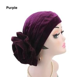 Women Turban Cap Velvet Cancer Chemo Hat PURPLE Purple