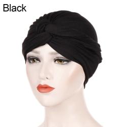 Women Turban Hat Chemo Cap Hair Loss Hat BLACK black
