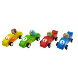 Pull back racer bil i trä - Grön Grön
