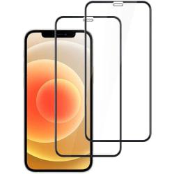 2-pack Heltäckande Skärmskydd - iPhone 12 / 12 Pro härdat glas Black iPhone 12/ 12 Pro (6.1)