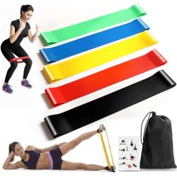 5-pack Träningsband motståndsband med instruktioner påse yoga Svart