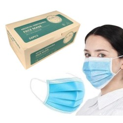 [ 50-PACK ] CE-godkända Munskydd, ansiktsmasker (3-lager) Blå