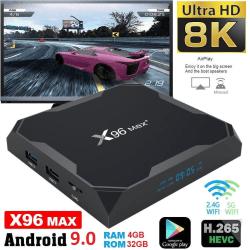 8K Full HD Mediaspelare x96 MAX+ - KODI, WiFi TV Box IPTV - 9.0