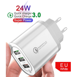 C4U - 4.8A Väggladdare Kontakt 24W - 3 X usb uttag  Vit