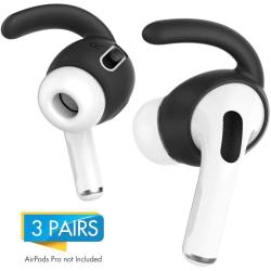 C4U Earhooks In-ear för AirPods Pro Earhooks Earbuds silikon kit Svart