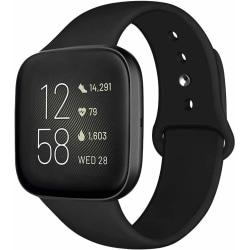 Fitbit Versa 1 / 2 armband i stilren silikon  Svart